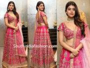yamini bhaskar in pink half saree