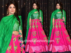 zaira wasim in pink and green lehenga at priyanka chopra wedding reception