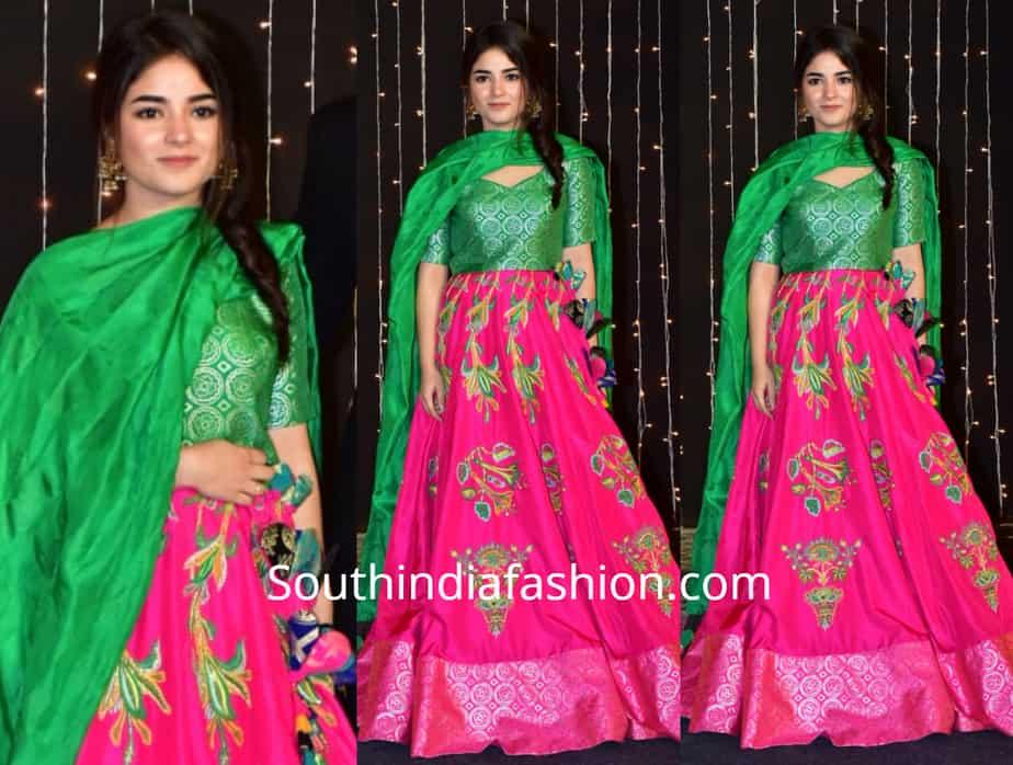 zaira wasim in pink and green lehenga at priyanka chopra wedding reception