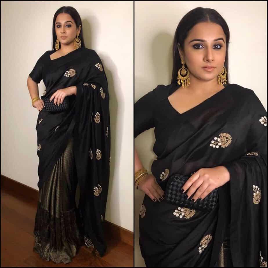 vidya balan in a black saree at sakshi bhatt wedding reception
