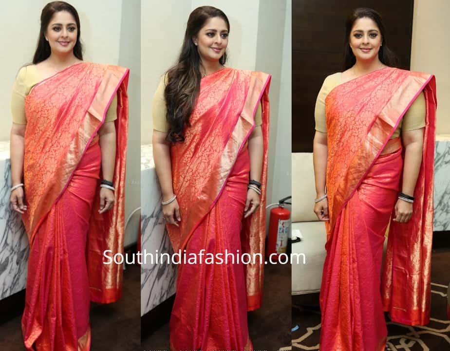 nagma silk saree at tsr awards press meet