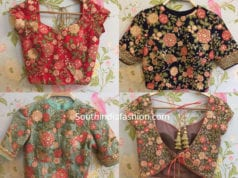 floral embroidered blouse designs