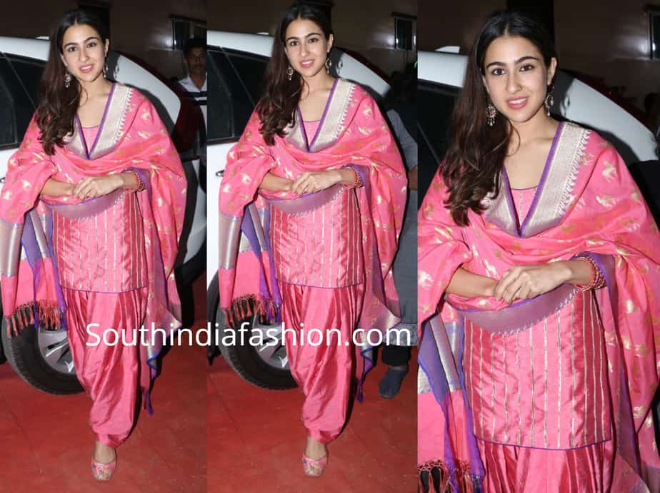 sara ali khan pink silk patiala suit