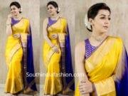 nikki galrani in yellow saree purple blouse