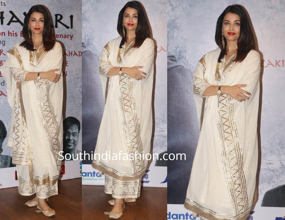 aishwarya rai bachchan in white palazzo suit at raag shayari event