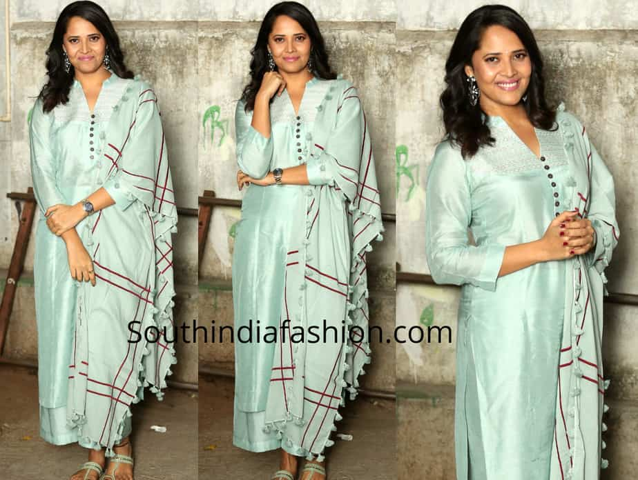 anasuya in blue palazzo suit at f2 success meet