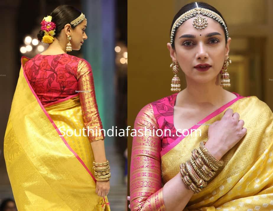 aditi rao hydari in yellow silk saree at sanskruti fashion show