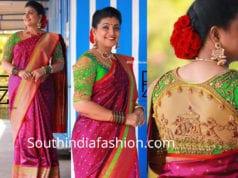 roja pink saree green doli blouse