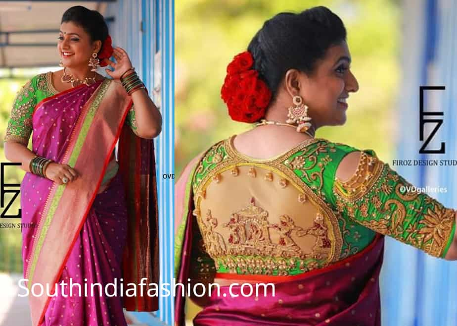 roja pink saree green doli blouse