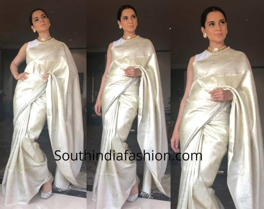 kangana ranaut in silk saree manikarnika promotions