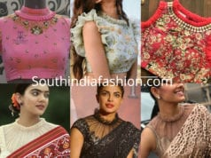 ruffle collar neck saree blouse designs
