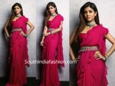 shilpa shetty pink ruffle saree