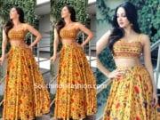 kiara advani in label anushree skirt and crop top