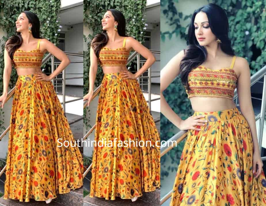 kiara advani in label anushree skirt and crop top