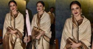 rekha in white saree at manikarnika screening