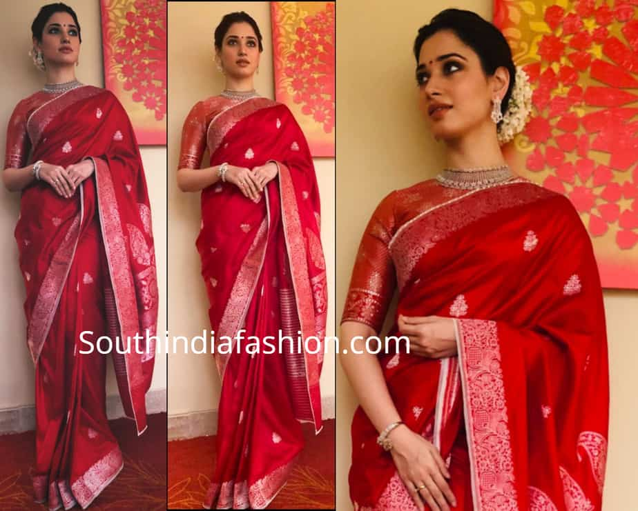 TAMANNAAH IN RED BANARASI SILK SAREE