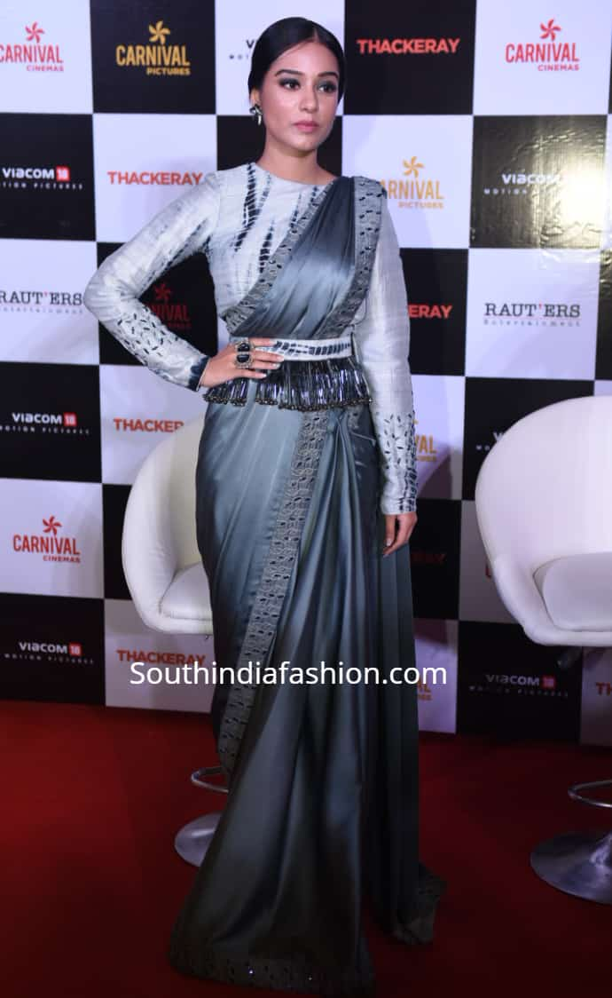 amrita rao grey saree with belt for thackeray promotions