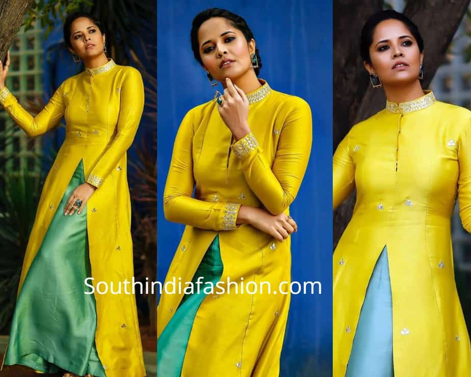 anchor anasuya yellow dress