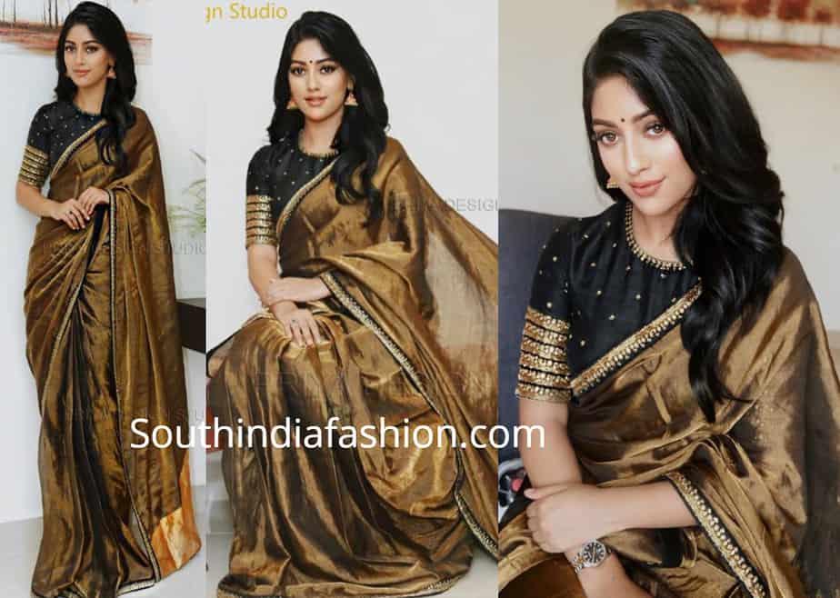 anu emmanuel in gold saree