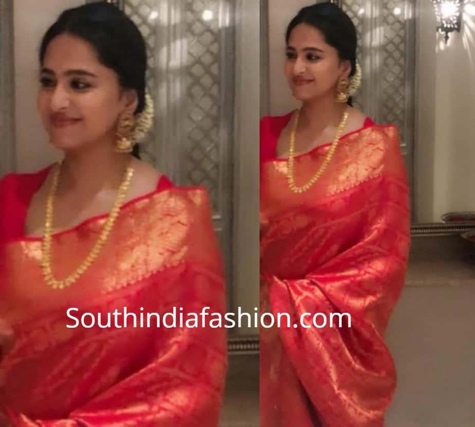 anushka shetty sarees at rajamouli son wedding