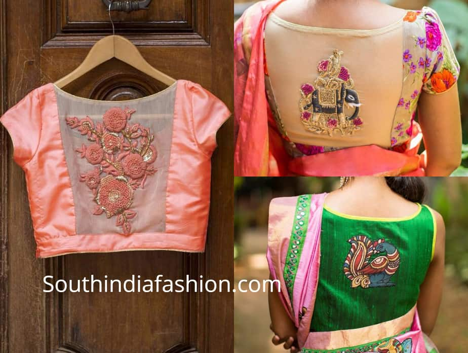 diy applique work designer blouses