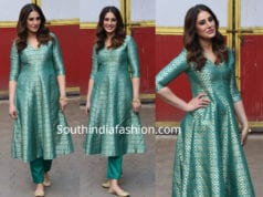 nargis fakhri green brocade kurta for amavas promotions