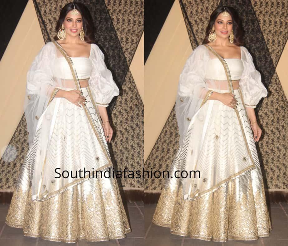 bipasha basu in white lehenga at sakshi bhatt wedding reception