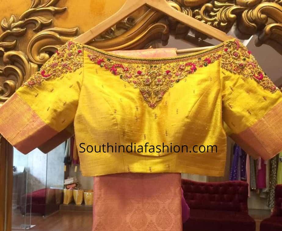 boat neck blouse for pattu sarees