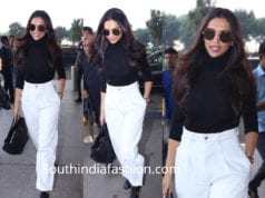 deepika padukone white pants black shirt airport