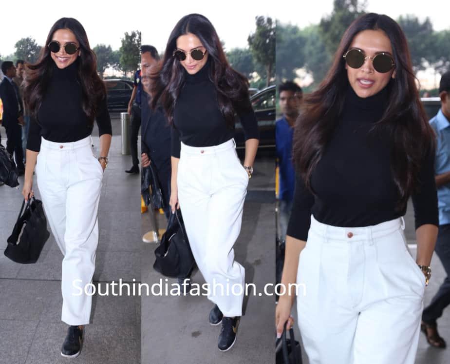 deepika padukone white pants black shirt airport
