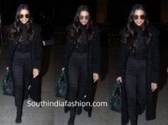 deepika padukone airport black dress