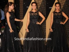dia mirza black dress sakshi bhatt wedding reception