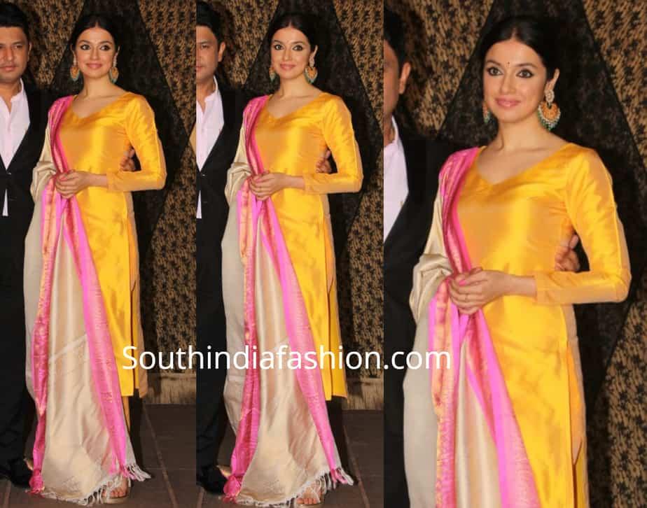 divya khosla kumar in yellow salwar kameez at sakshi bhatt wedding reception