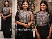 hebbah patel in black indo western dress