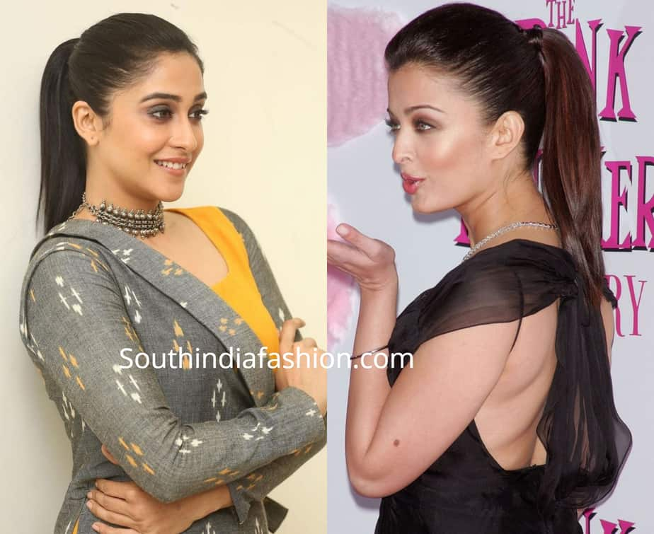 indian actress ponytail hairstyle