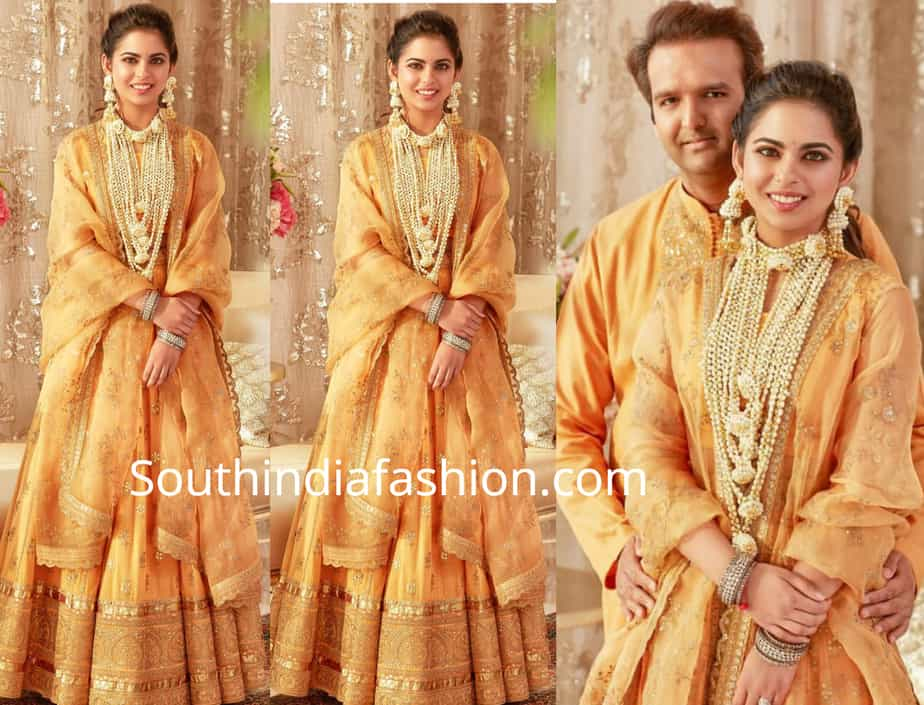 isha ambani in yellow lehenga at haldi ceremony