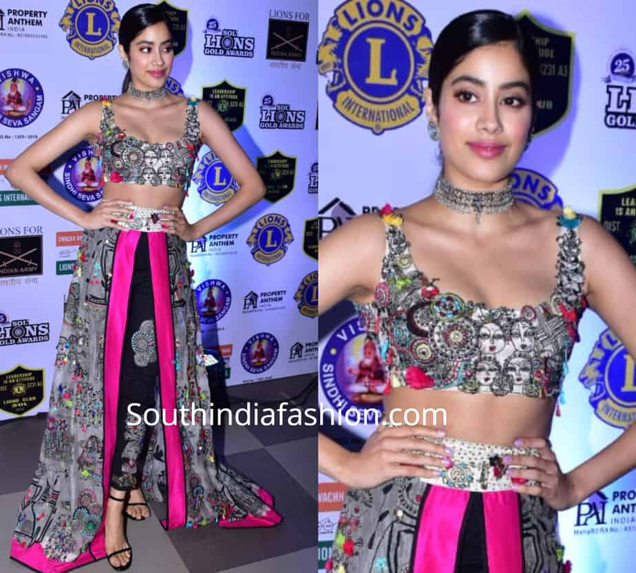 janhvi kapoor in anamika khanna dress at lions gold awards 2019