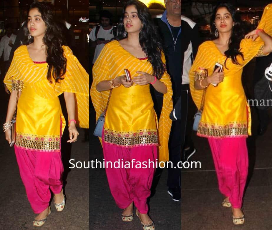 janhvi kapoor in yellow pink patiala suit
