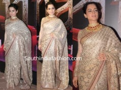 kangana ranaut in tarun tahilaini saree at manikarnika song launch