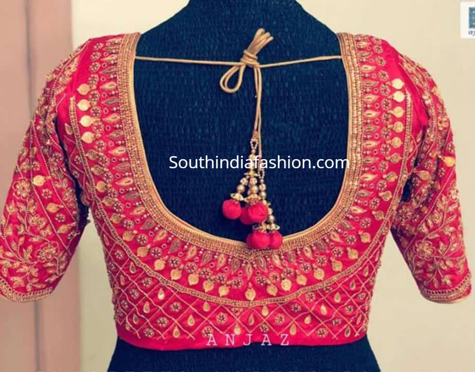 kasu work silk saree blouse