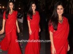 katrina kaif in red palazzo saree at umang police show