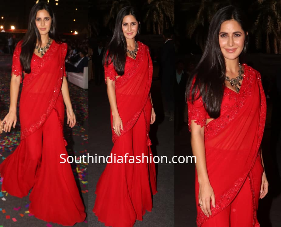 katrina kaif in red palazzo saree at umang police show