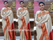 keerthy suresh in white traditional saree at avr swarnamahal collection launch