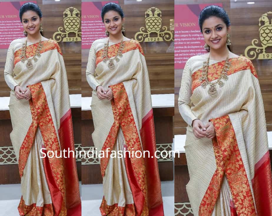 700ced2cc22b9a Keerthy Suresh in a traditional saree. By. southindiafashion