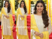 keerthy suresh white and yellow palazzo suit
