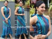 kiara advani blue midi dress vinaya vidheya rama promotions