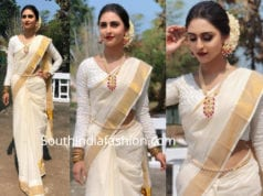 krystle dsouza in kerala traditional saree