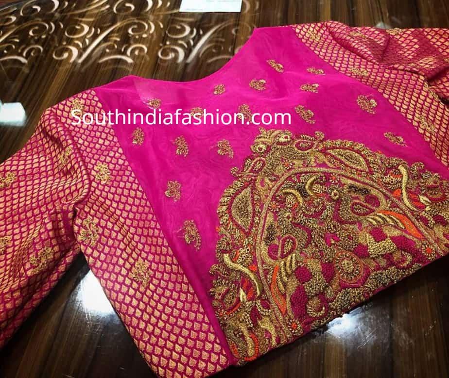 maggam embroidery blous edesigns for pattu sarees by pratiksha