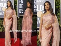 manasvi peach saree at golden globe awards 2019