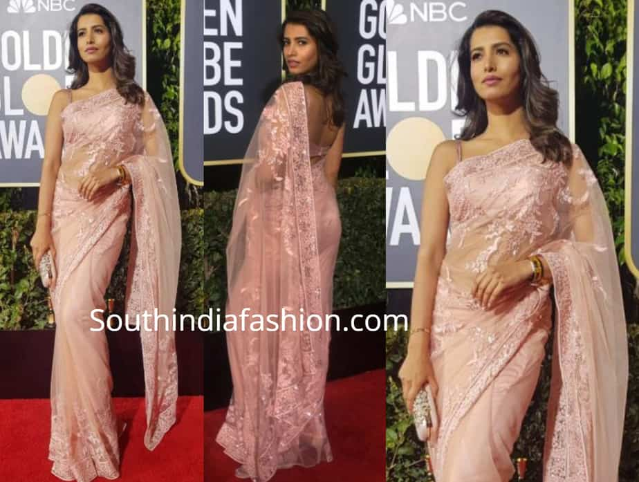 manasvi peach saree at golden globe awards 2019
